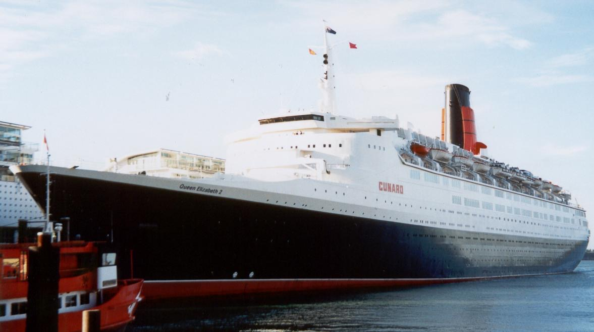 QE2 docked at apartments