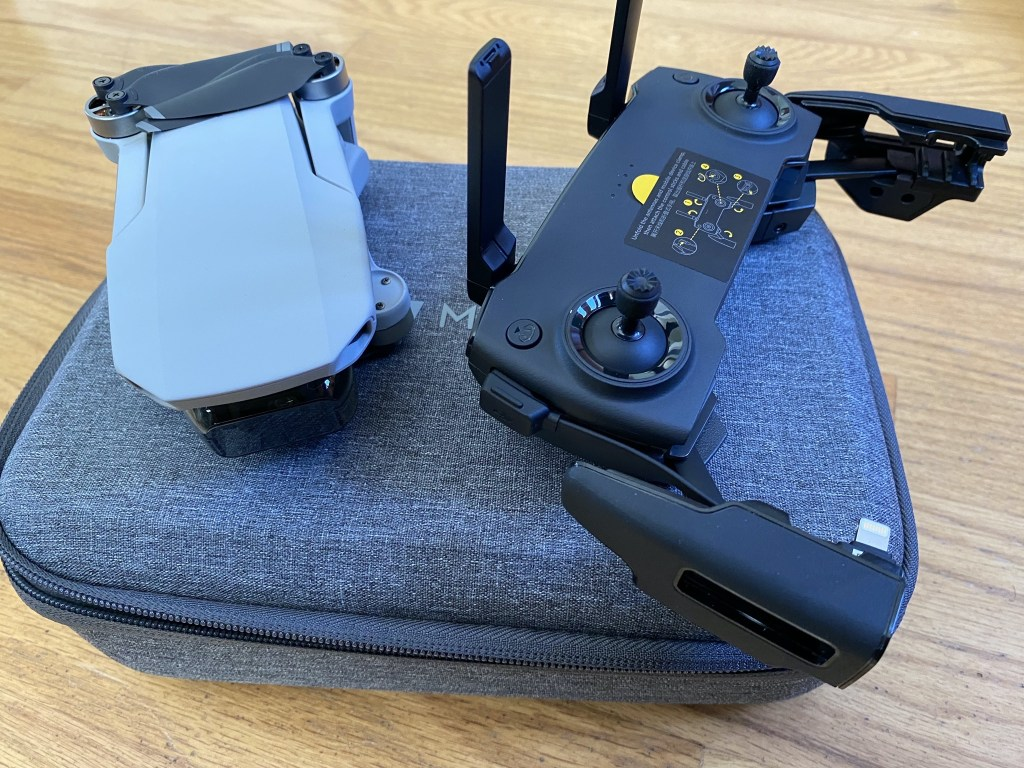 Folded drone and unfolded controller