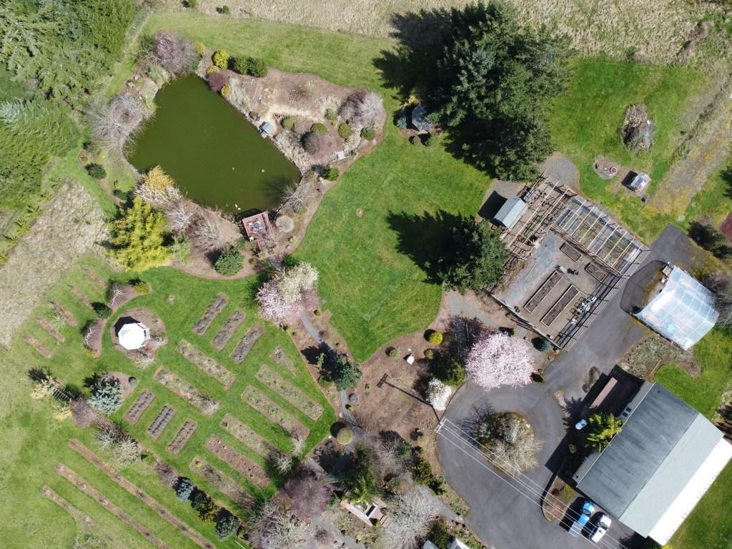 Flowerbeds, pond, veggie garden, etc