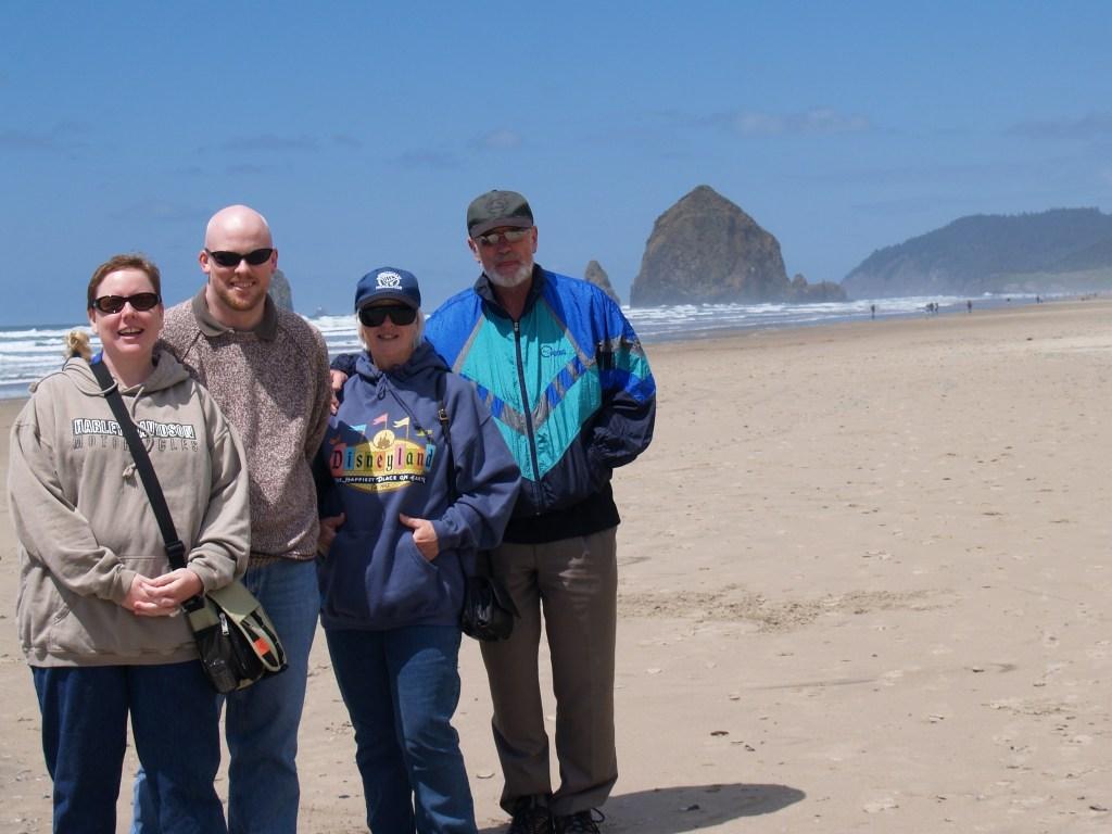 Jenn, David, Mum, Brian at Cannon Beach