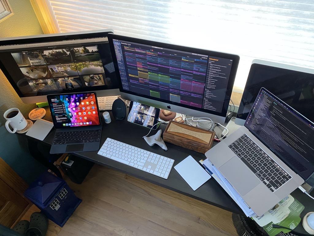 Desk, Macs, iPads