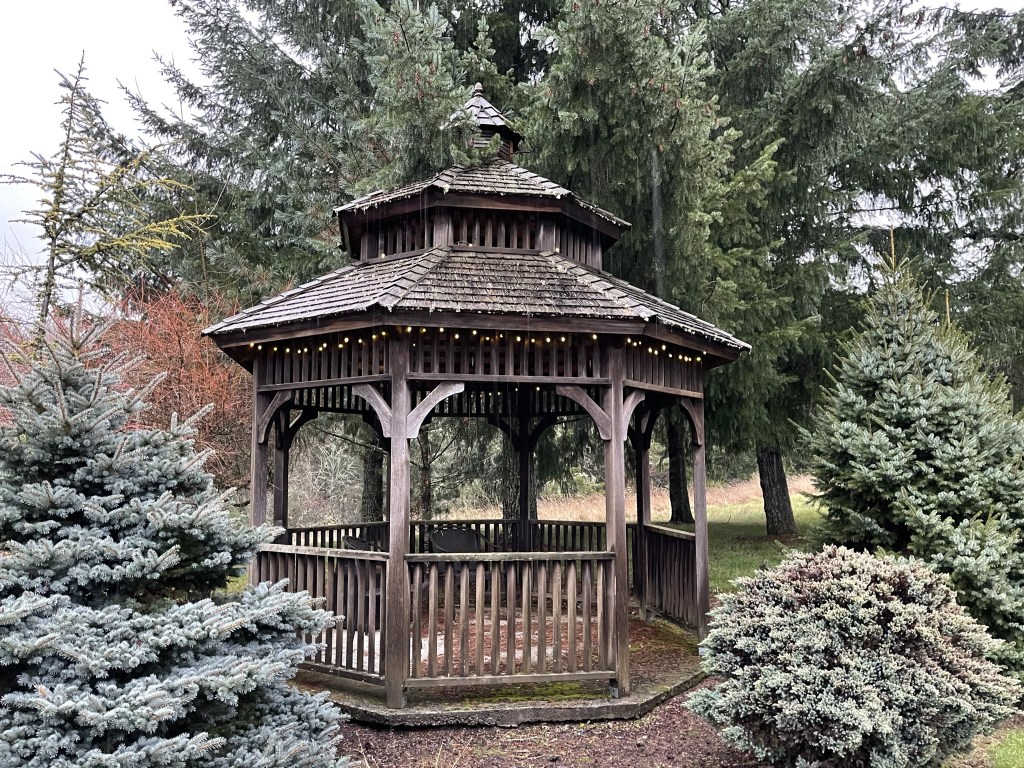 Brown gazebo with lights on