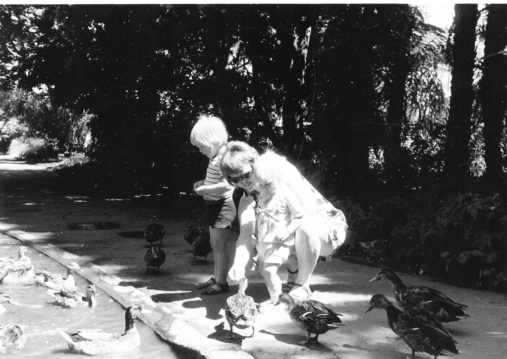 David, Mum and Nev feeding ducks