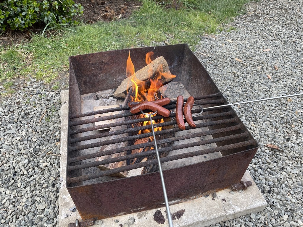 Cooking hot dogs on fire pit