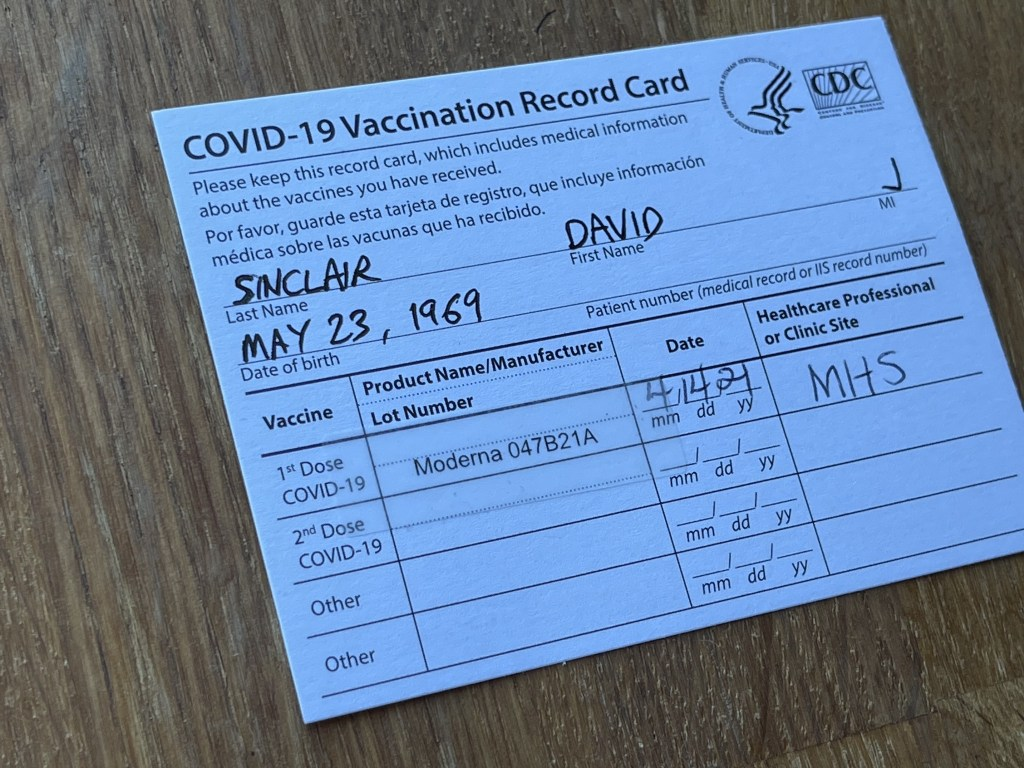 My vaccination card