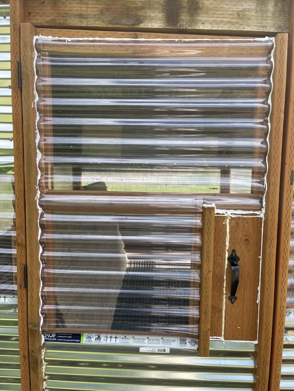 Replaced top panel of door