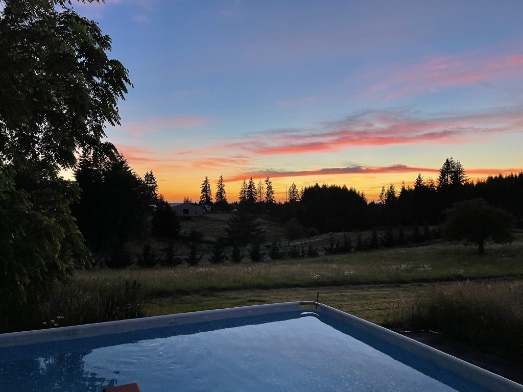 Sunset over our pool