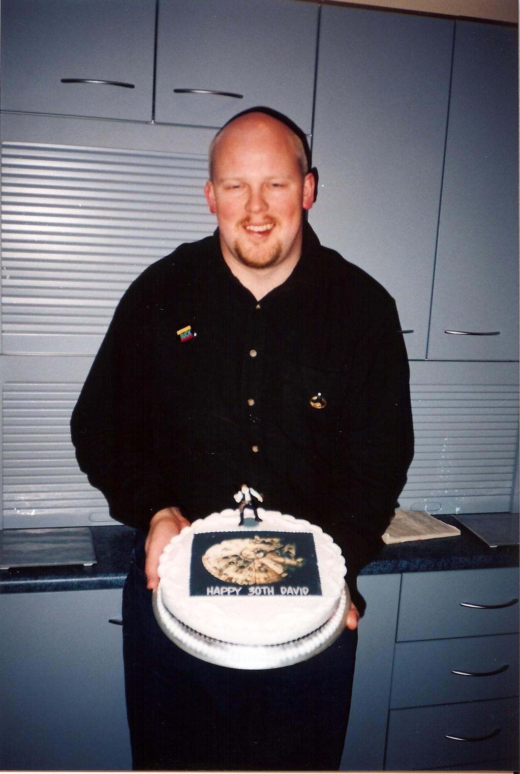 David with 30th birthday cake