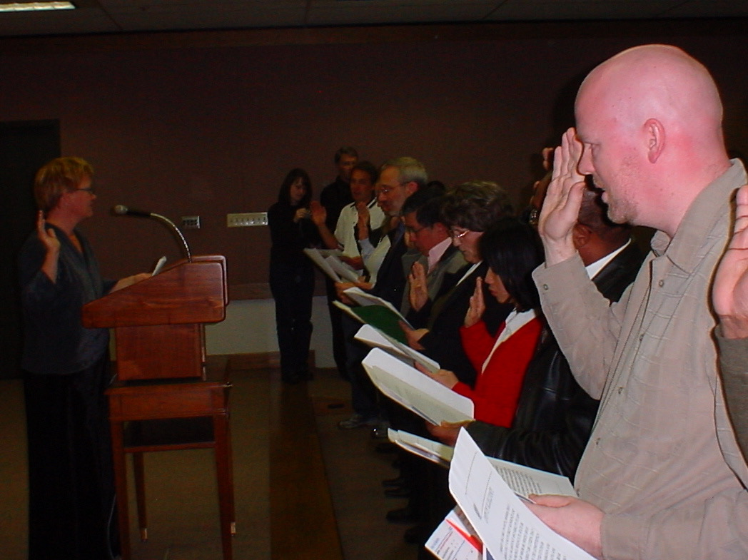 David reciting the Oath of Allegiance