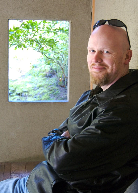 David in a Portland Japanese Garden shelter