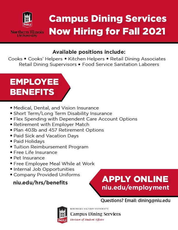 Campus Dining Services Now Hiring For Fall 2021