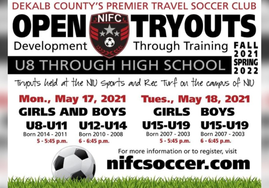 Open Tryouts For NIFC Club Soccer, Youth 6 To 18 Years Old, May 17 And 18, 2021