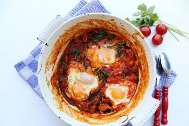 Shakshuka met spinazie