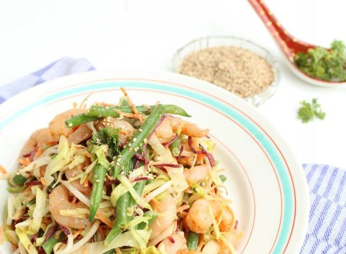 Aziatische salade met gamba