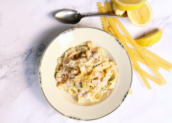 pasta met zalm en citroen