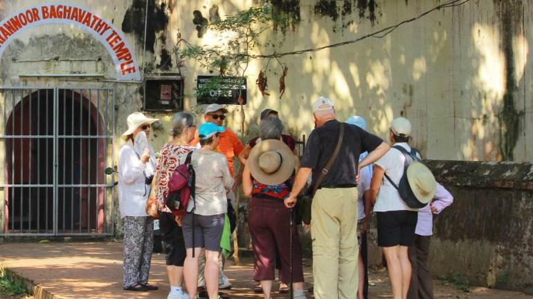 Mattancherry-Foreign-Tourists Visiting Mattancherry- Palace-Pazhayannoor -Bhagavathi-Temple