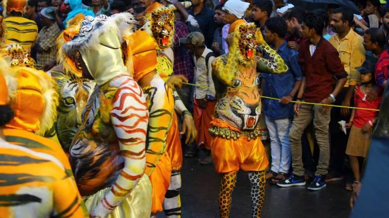 Puli-Kali-Pulikkali - Players assembled in the Swaraj Round, Thrissur