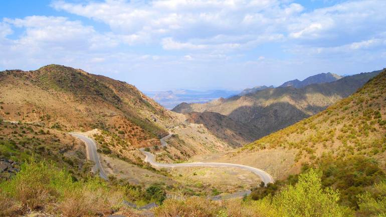 Curvy-Roads,-leads-to-Berbera,-a-view-from-the-top-of-Sheikh-mountains,-Sheikh-village-Somaliland