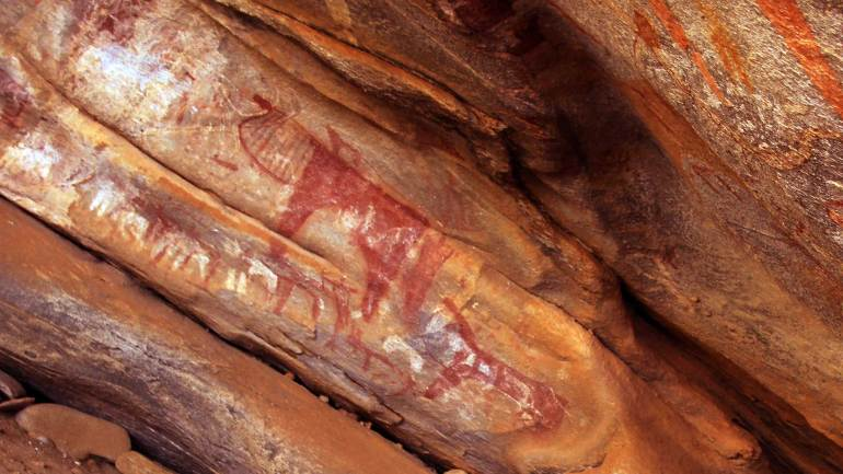Various-rock-arts-in-the-Laas-Geel-cave-complex,-Hargeisa-Somaliland