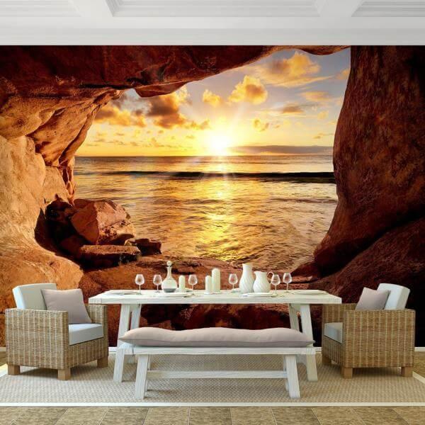 Vlies Fototapete Strand mit Sonnenuntergang  dekodealzde