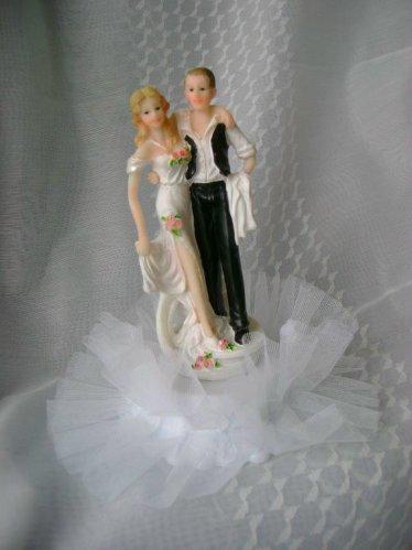 Brautpaar auf Tortenaufsatz mit Tll  dekor24 DIMECOdeko