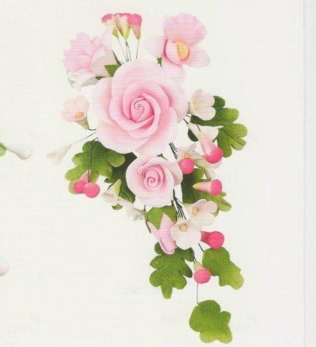 Set 3 Stck Tragant Blumenbouquet Rosen rosa  dekor24
