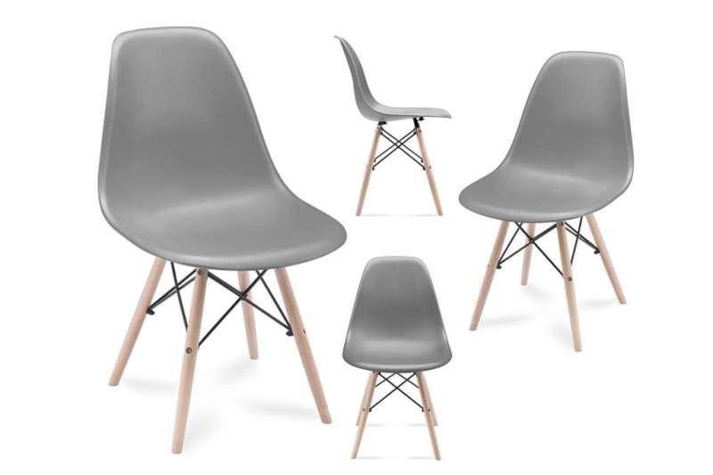 Zestaw krzesła 4 szt. NEREA  ciemny szary