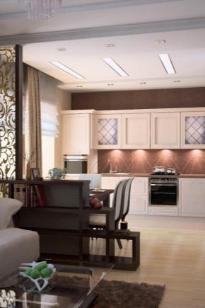 дизайн кухни гостинной 5