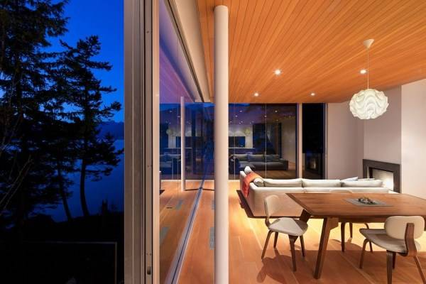 Design of a living room overlooking the lake