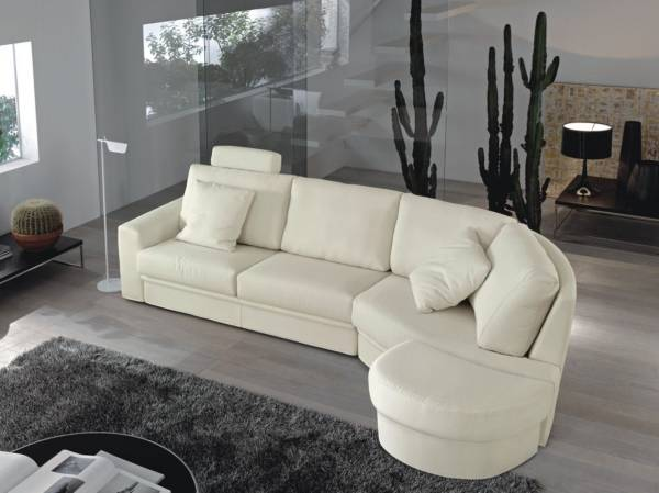 Yumuşak köşe kanepe - beyaz fotoğraf