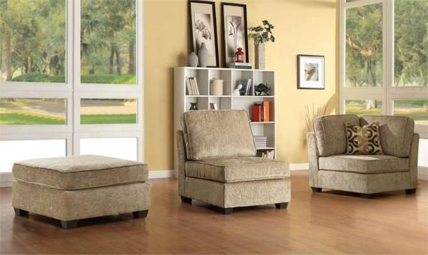 Modüler üç parçalı köşe kanepe - köşe koltuk, koltuk ve puf
