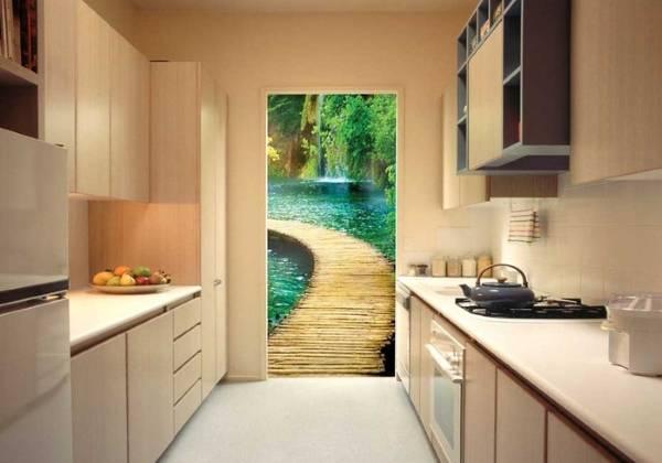 Mutfağın iç kısmında 3B duvar kağıdı - doğa