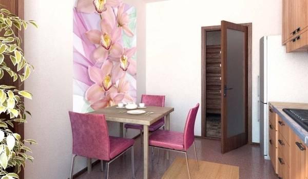 Mutfak duvar kağıdı ve duvar resimleri - pembe çiçekler