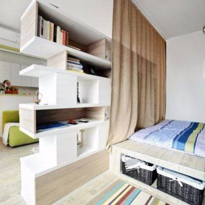 Дизайн однокомнатной квартиры для семьи с ребёнком - 40 фото