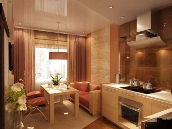 Mutfağın iç kısmında yataklı mutfak köşesi