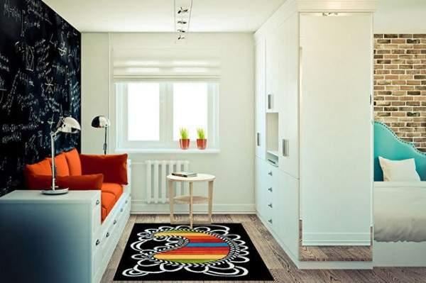 küçük tek odalı bir dairenin iç tasarımı, fotoğraf 37