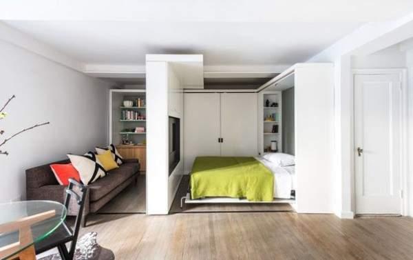 küçük tek odalı bir dairenin iç tasarımı, fotoğraf 2