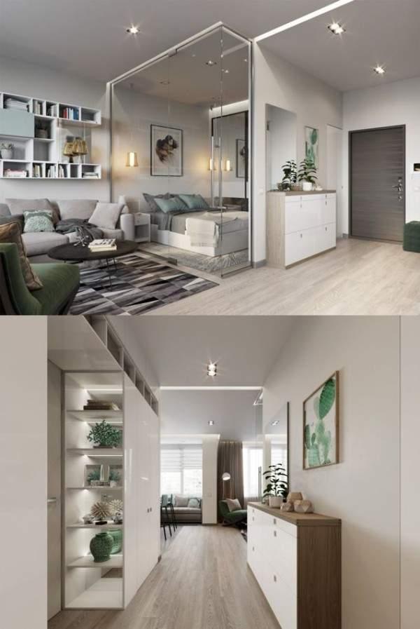 küçük tek odalı bir dairenin iç tasarımı, fotoğraf 18
