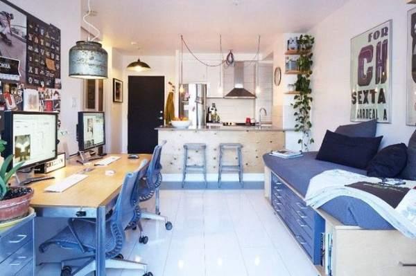 küçük tek odalı bir dairenin iç tasarımı, fotoğraf 6