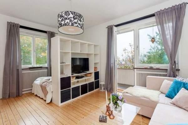 küçük tek odalı bir dairenin iç tasarımı, fotoğraf 13