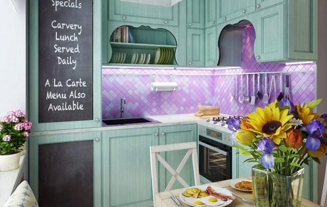 provence tarzı fotoğrafta küçük mutfak