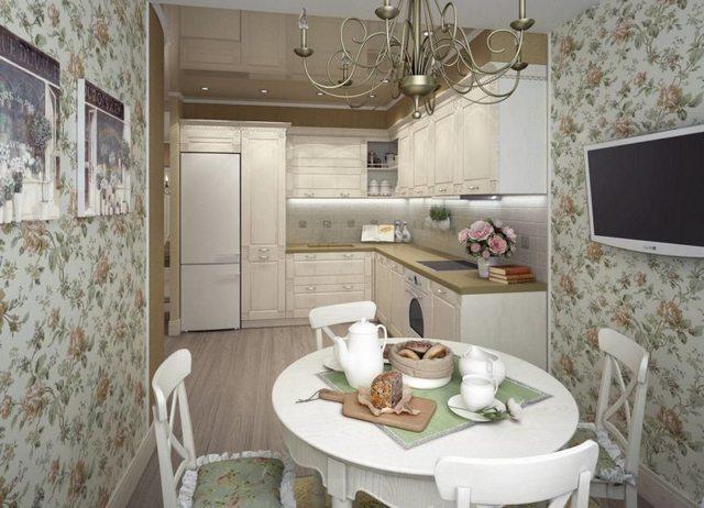 Kruşçev'de Provence tarzında küçük mutfak