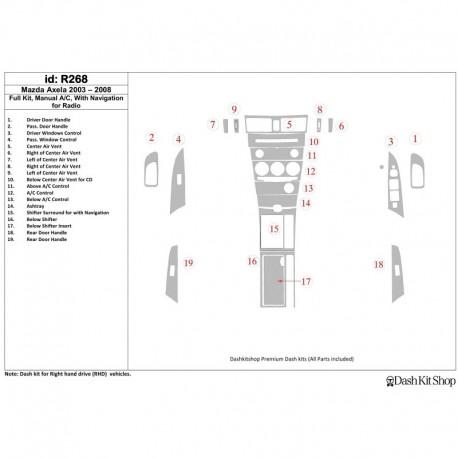 Накладки салона под дерево и карбон для Mazda Axcela. R268.