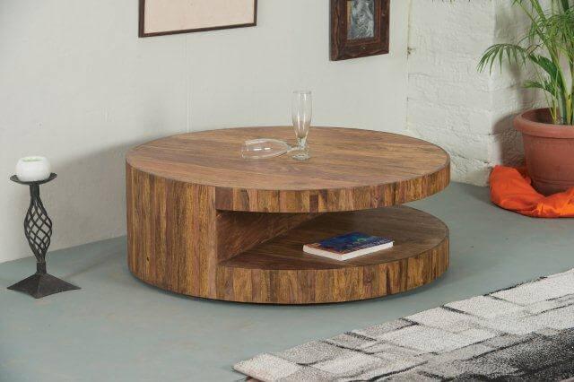 ronde naturel gelakte salontafel van cm doorsnee met
