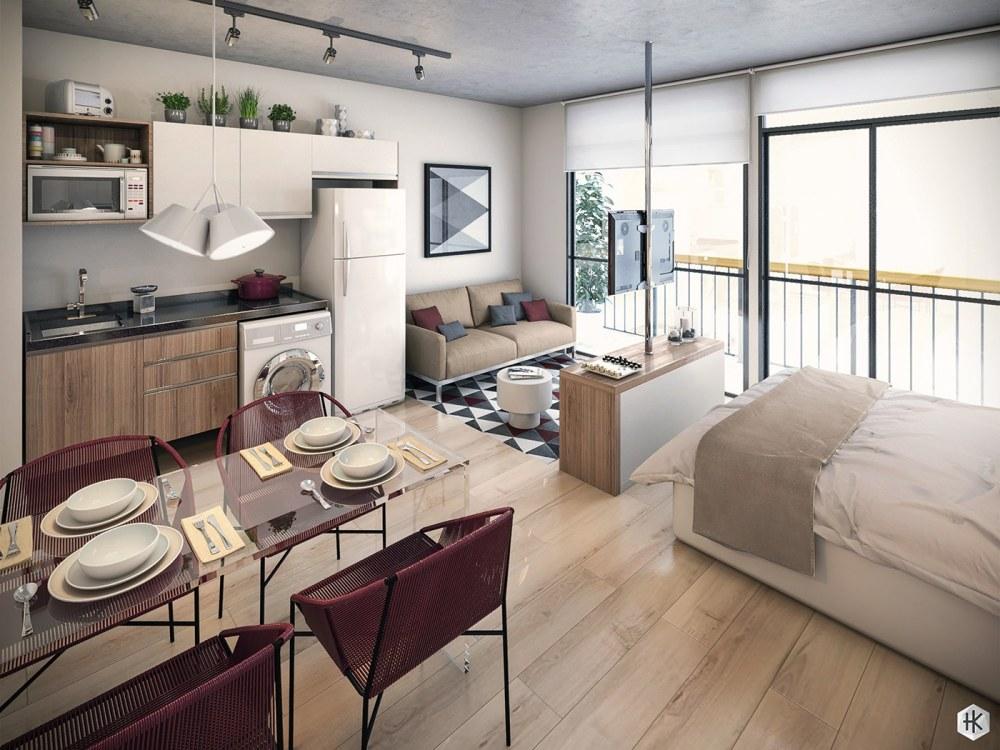 Desain Apartemen Studio Modern