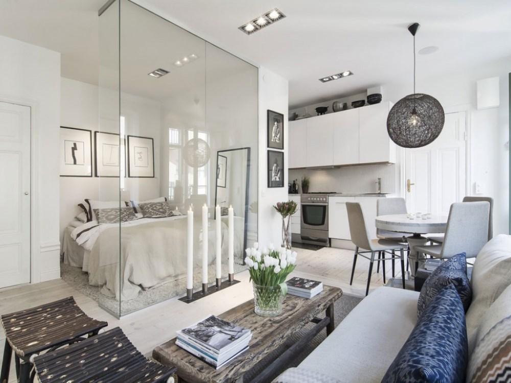 7 desain apartemen studio mungil yang super nyaman for Desain apartemen studio 21m