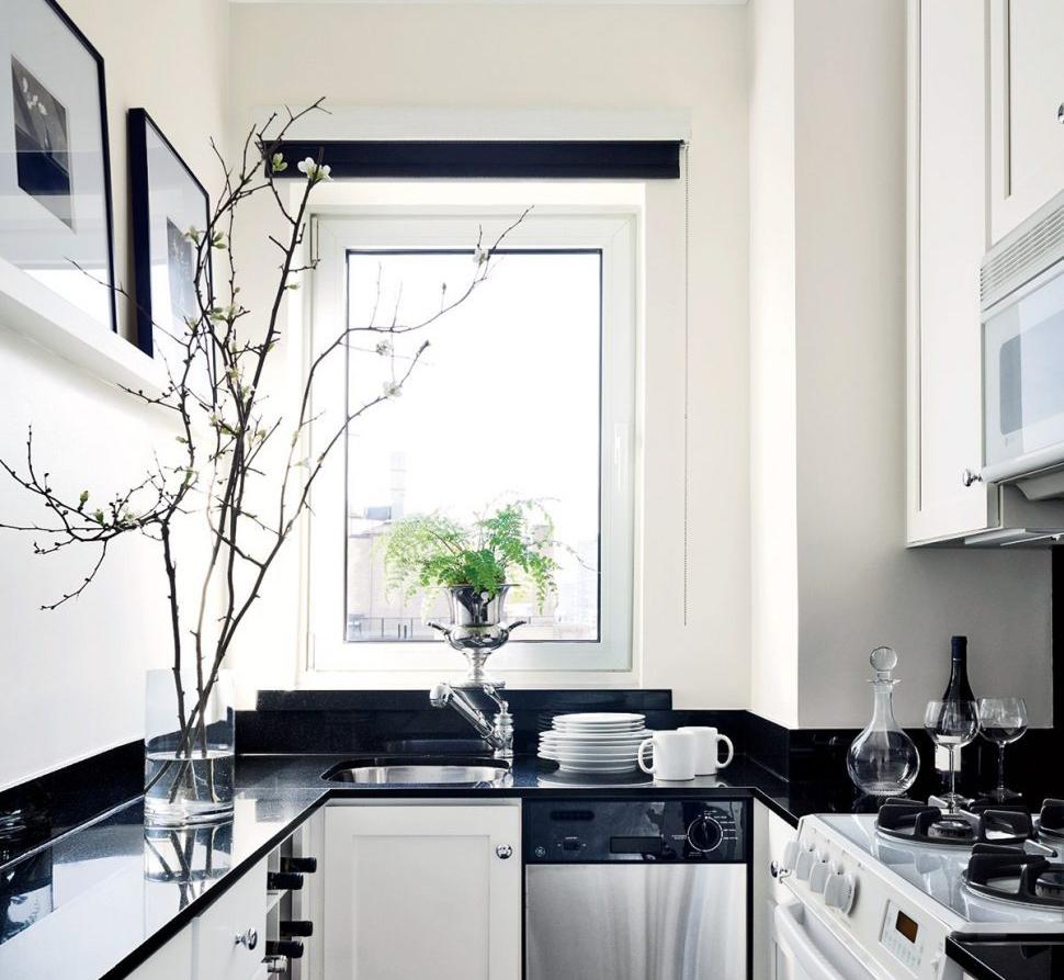 Desain Dapur Kecil Hitam Putih
