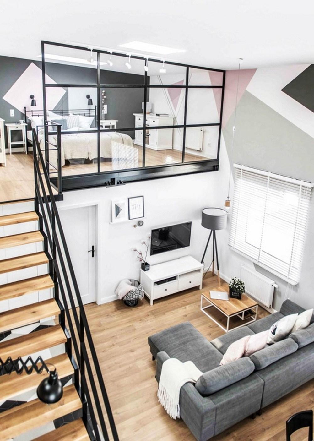 Desain kamar minimalis dengan mezzanine ke ruang lain