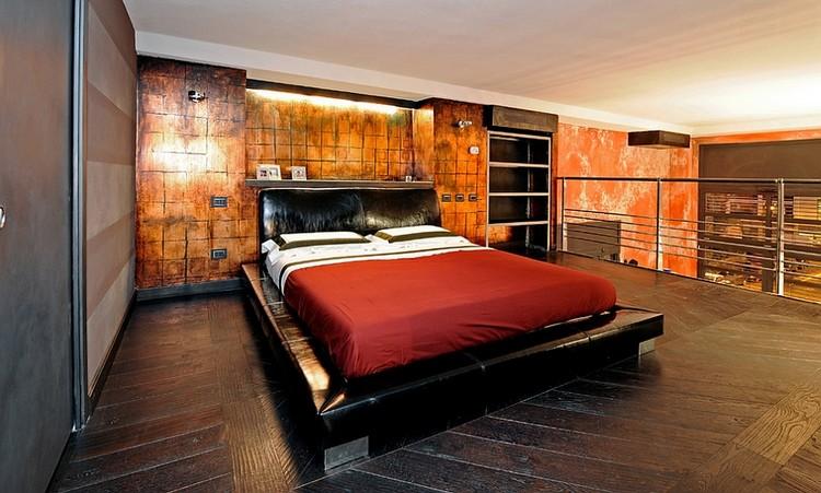 Interior kamar tidur industrial dengan pencahayaan tidak langsung