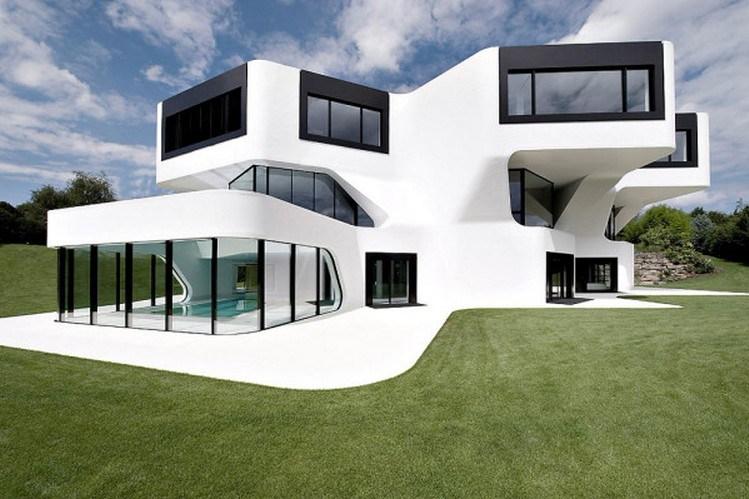 Desain rumah unik geometris nan futuristik
